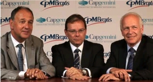 Capgemini's CEO Paul Hermelin (l) is joined by Mr. Rossi and Mr. Shpilberg from CPM Braxis to talk about last week's deal.