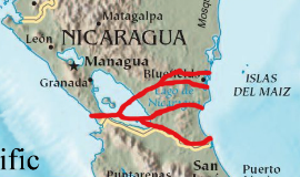 The Nicaragua canal will follow the second from top of the proposed routes shown in red.