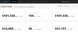 A demo of Saasmatrics' tracking dashboard.