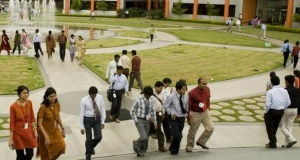 Employees in formal dresses was the common scene at Infosys campus in Bangalore
