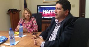 Norma Powell, CFI Haiti CEO and Pierre Liautaud of GB Group discuss a major port/FTZ project north of Port au Prince.