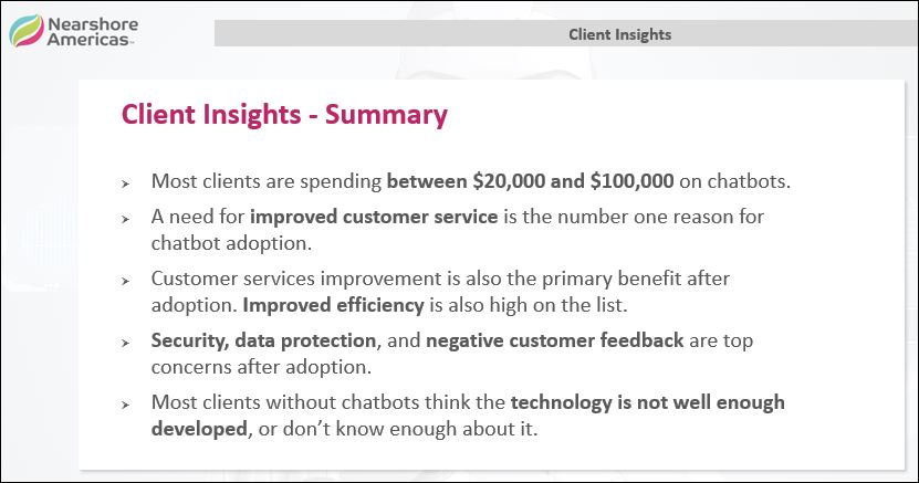 client insights chatbots summary